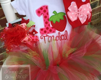 FREE SHIPPING - Strawberry Birthday Outfit -- A Berry Sweet Birthday -- bodysuit, leg warmers, tutu, bow in pink, red and green
