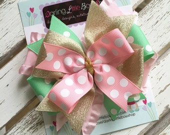 Pink, Mint and Gold Bow -- Layered bow made with beautiful pink, mint and gold ribbon -- optional elastic headband