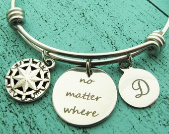 best friend gift, long distance relationship bracelet, travel gift, friendship gift, compass bracelet, moving away gift, no matter where,