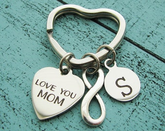 personalized gift for mom keychain, Mothers Day gift mom birthday gift, mom's gift, love you mom, wedding gift for mom, infnity keychain