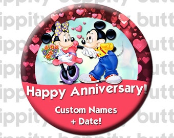 Disney Mickey & Minnie Anniversary Buttons (2)