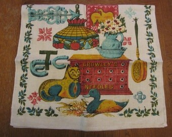 Etc Kitchen Towel Early American Country Print White Linen