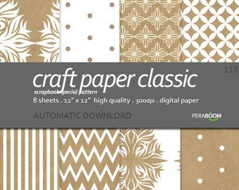 Brown digital Paper Craft paper Classic for invitations, scrapbooking, cardmaking, neutral digital paper