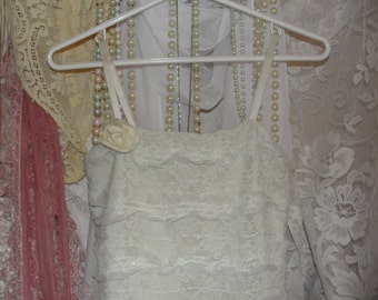 Shabby chic ivory lace dress, farmgirl bride, faery whimsy french chic