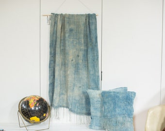 Vintage Light Blue Indigo Wall Hanging