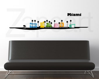 Miami South Beach Skyline Wall Decal Sticker