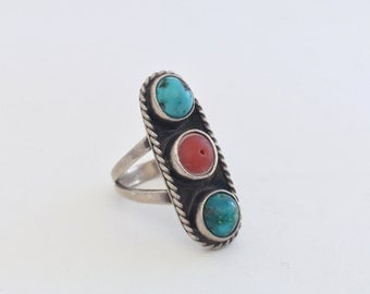Turquoise and Coral Silver Ring Three Stones Size 7 1/2
