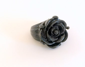 Large Rose Ring Black Painted Copper Size 7