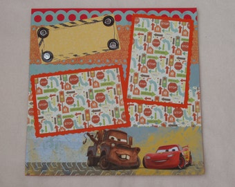Disney Cars Lightning McQueen Tow Mater Radiator Springs Racecar 12x12 Premade Scrapbook Page by KARI