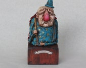 Nowhere Wizard - Handmade Sculpture, Polymer Clay, Wood - Sale