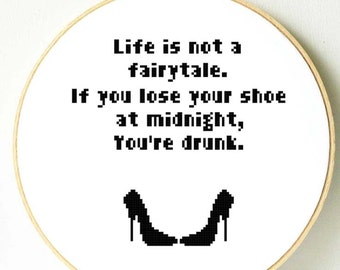 Funny quote cross stitch pattern. PDF Instant download. Funny gift for her. Modern Humour cross stitch. Wall, home decor, interior design.