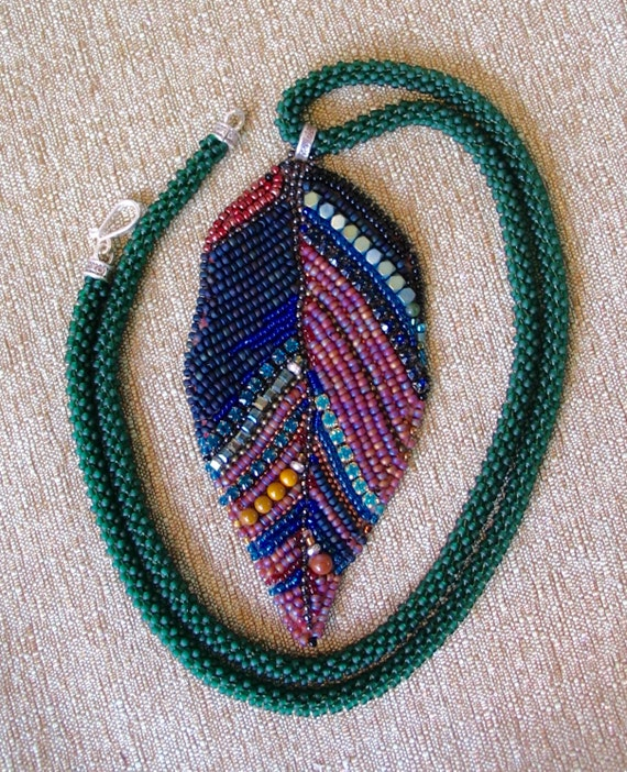 Bead embroidery leaf long necklace by artstudio on etsy
