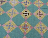 """Quilt top: Nine patch within a nine patch 1940's quilt top  cotton fabrics,  hand and machine sewn  66"""" x 80"""""""