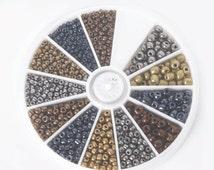 600pcs Czech Glass Metallic Seed Beads - approx 2mm, 3mm & 4mm - Bulk supplies - Bronze Gold Pewter Copper - in storage box