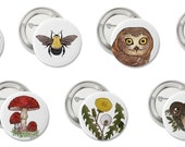 "1"" Button Pins - Plants, Wildlife, Mushrooms, Bees"