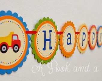 Construction Truck Happy Birthday Banner