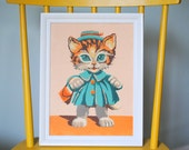 Kitty in a Coat Mid Century Paint By Number Framed Art Acrylic Painting