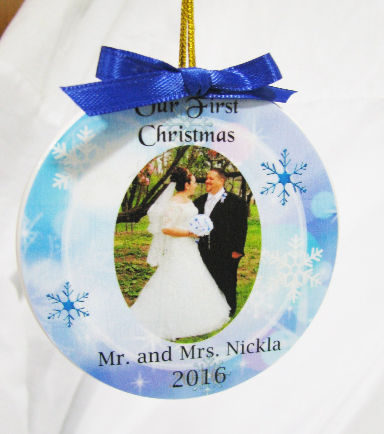 Newlywed ornament - First Christmas Married Ornament Christmas Ornament Our First Christmas First Christmas Wedding Ornament Newlywed Ornament