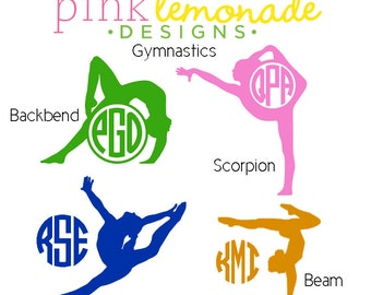 Gymnastics Monogram Decal, Gymnast Monogram Vinyl Decal, Balance Beam Decal, Leap Scorpion Backbend Monogram