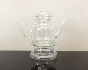 Jenaer Schott Mainz Germany Glass Teapot with Glass Lidded Diffuser and Warmer