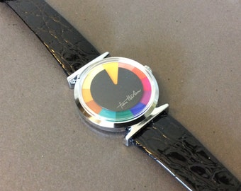 "Tian Harlan "" Chromachron "" Round Face Wrist Watch - Black Band"