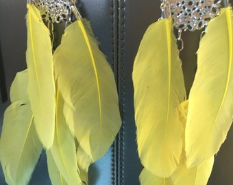 Summer Feather Earrings, Chandelier Earrings, Silver Earrings, Statement Earrings, Tribal Earrings, yellow Feathers, African Earrings, Sale