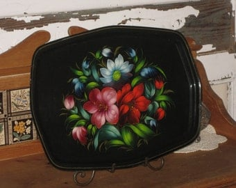 Tole Tray Enamel Ware Shabby Chic - Hand Pained Tin Flower Garden