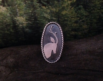 Lone Stag sterling silver ring