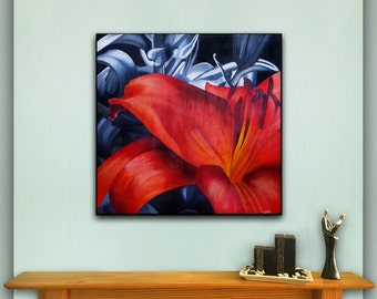 "Red Lily Painting  Black and White Textured Acrylic Canvas Painting 20""x20"""