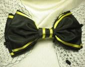 Big Black Bow Fascinator Vintage Gold Stripe Ribbon Netting