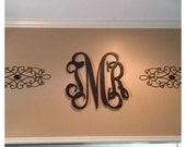 18 Inch Connected Wooden Monogram - UNPAINTED - Perfect for hanging on a wall or added to a wreath.