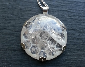 Quartz HoneyComb Pendant - hadcut sterling silver and handcarved quartz cabochon - Handcrafted Geometric Jewellery