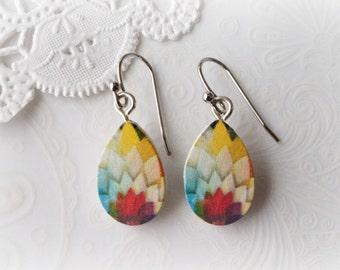 Wooden Dangle Teardrop Colourful Floral Burst Earrings