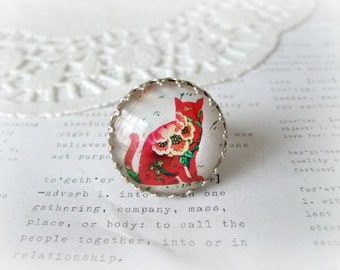 Large Silver Ring with Red Floral Kitty