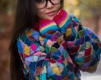 Patchwork Cozy Hand knitted Woolen Sweater from Nepal