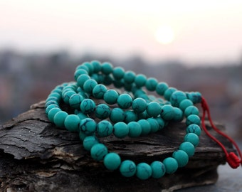 Faux Turquoise Tibetan Mala 8mm-108 Prayer Beads