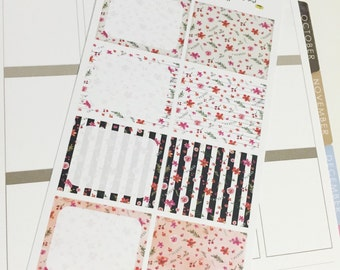SALE 0007 Full Boxes Red Pink Black and White Floral Sheet of Stickers Planner Stickers Erin Condren Life Planner Happy Planner