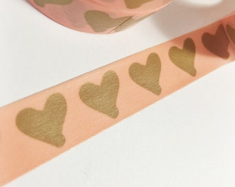 Bright Orange Coral Orange With Gold Painted Hearts Washi Tape 11 yards 10 meters 15mm