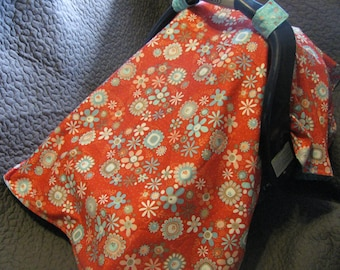 Red with Robin Blue Flowers Carseat Cover CLEARANCE