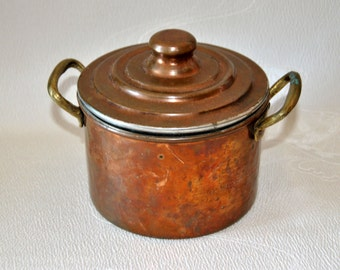 Antique Copper Canister Hand hammered Lidded French Pot Primitive Handle Sugar Flour Coffee Tea Canisters Bowl Kitchen Minimalist