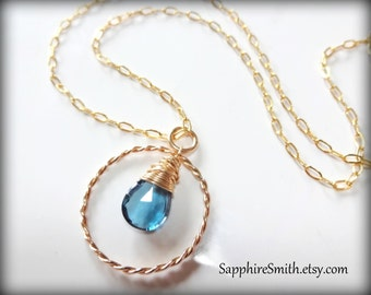 Luxurious London Blue Topaz Briolette, 14kt Gold Filled Necklace, December birthstone