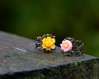 Yellow Flower Ring Pink Flower Adjustable Ring Victorian Style Cocktail Filigree Ring Amber Floral Ring Baby Pink Ring - R008
