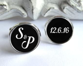 Wedding Cufflinks, Personalized Cufflinks For Groom, Initial Cufflinks
