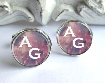 Initial Cufflinks, Personalized Cufflinks, Space Cufflinks, Gifts For Him