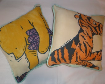Upcycled Winnie the Pooh & Tigger Pillows