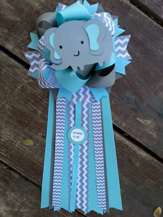 teal and grey baby shower mum by bonbow on etsy