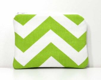 Green and White Chevron Zipper Coin Purse - Small Wallet - Little Zipper Pouch - Little Pouch - Small Gadget Case