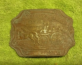 America's Heroe's Fire Department New Mexico Brass Belt Buckle - Tiffany Co
