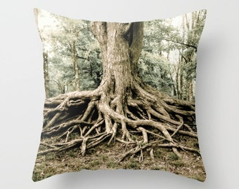 Rustic Tree Roots Throw Pillow, Nature Decor, Tree Decorative Pillow, Nature Pillow, Large Throw Pillow, Forest Theme, Tree of Life
