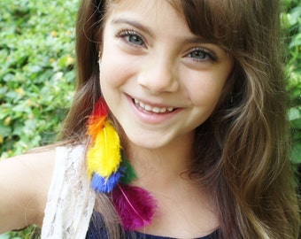 Rainbow Hair Extension Rainbow Feathers - Short Hair Rainbow Extension - Girls Feather Extension